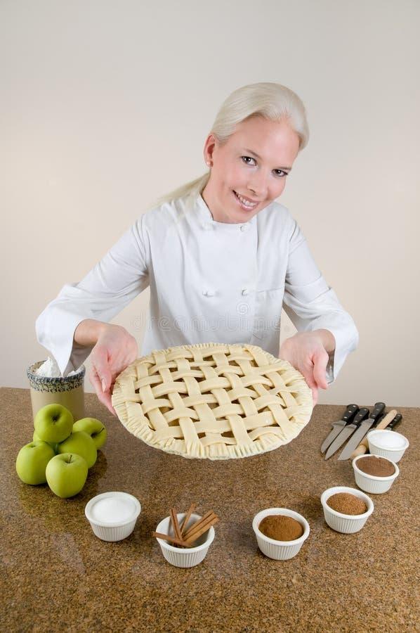 Gitter-Kruste-Apfelkuchen stockbild