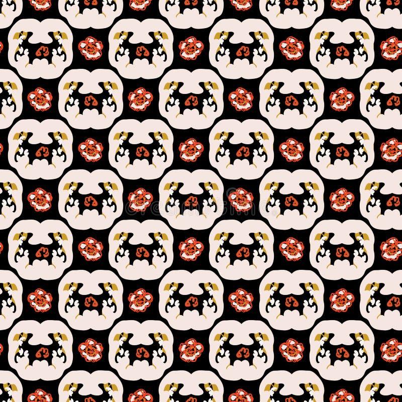 gitter-Vektor-Muster-Handgezogener Hintergrund der Verzierungs-60s Blumen, Retro- Grafik lizenzfreie abbildung