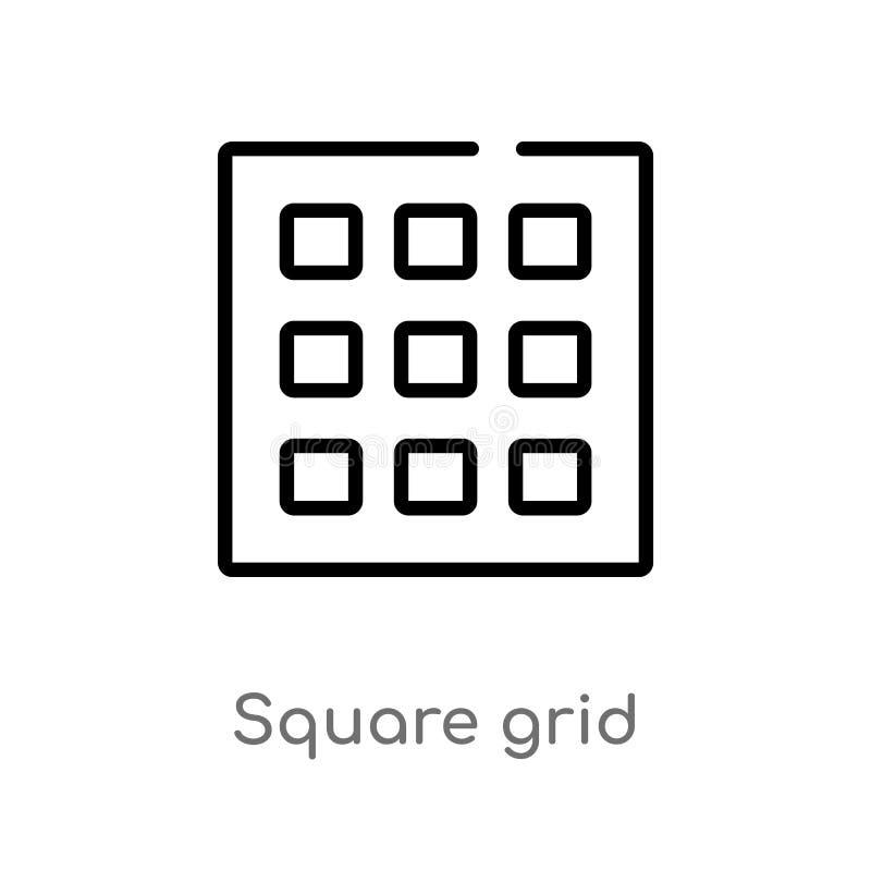 Gitter-Vektorikone des Entwurfs quadratische lokalisiertes schwarzes einfaches Linienelementillustration von entscheidendem glyph stock abbildung
