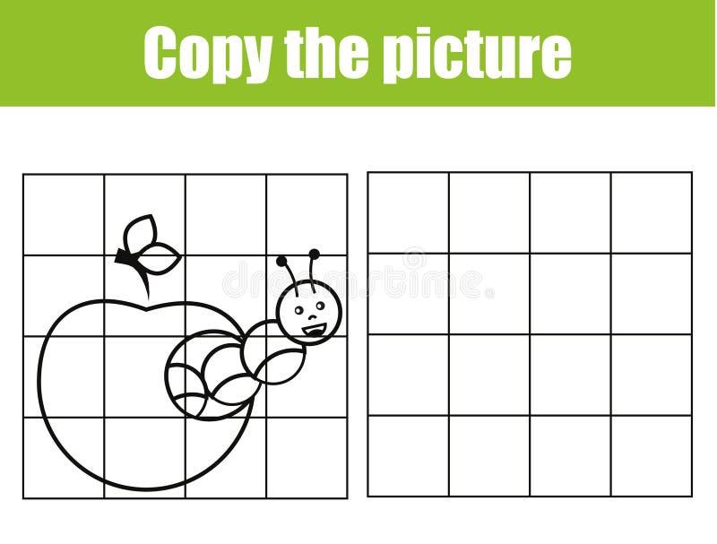 Gitterkopien-Bildtätigkeit Pädagogisches Kinderspiel Bedruckbares Kindertätigkeitsblatt mit Gleiskettenfahrzeug stock abbildung