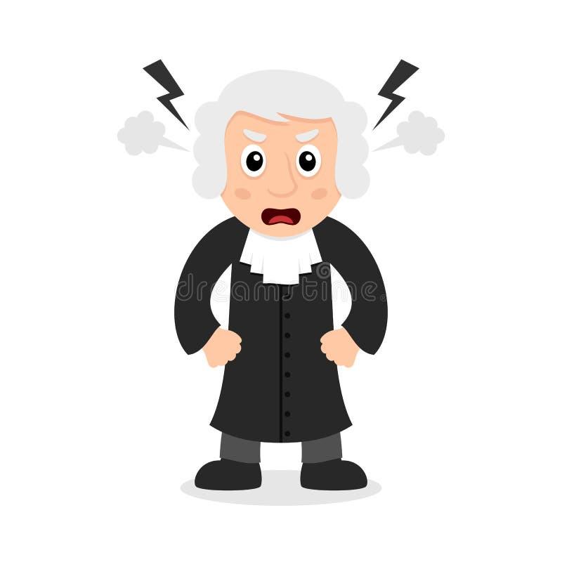 Giudice arrabbiato Cartoon Character illustrazione di stock