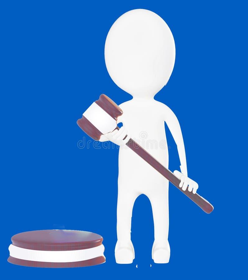 giudice bianco del carattere 3d illustrazione vettoriale