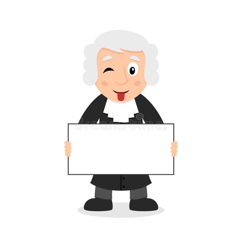 Giudice Character con l'insegna in bianco royalty illustrazione gratis