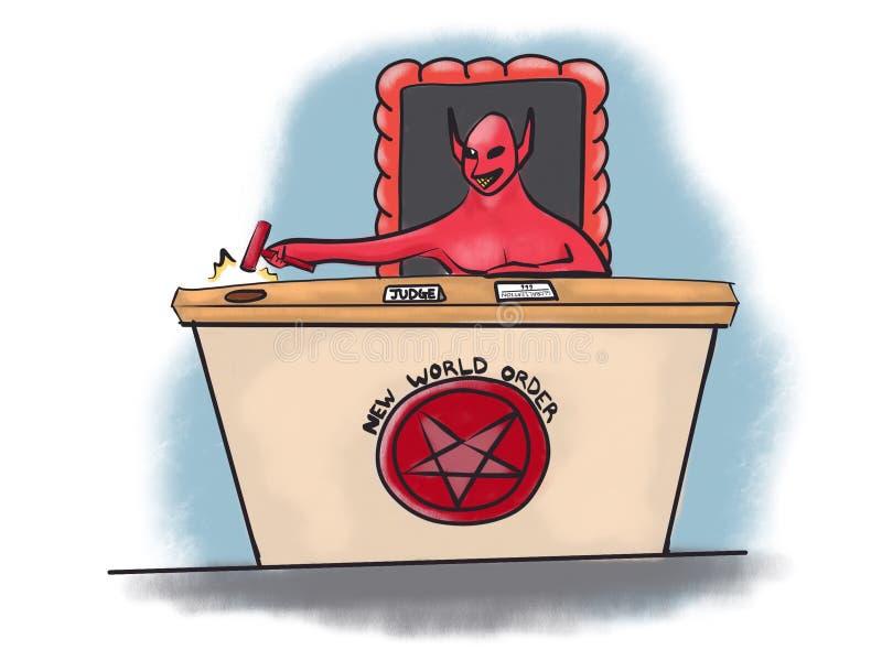 Giudice Globalization Cartoon Illustration del diavolo di nuovo ordine mondiale illustrazione vettoriale