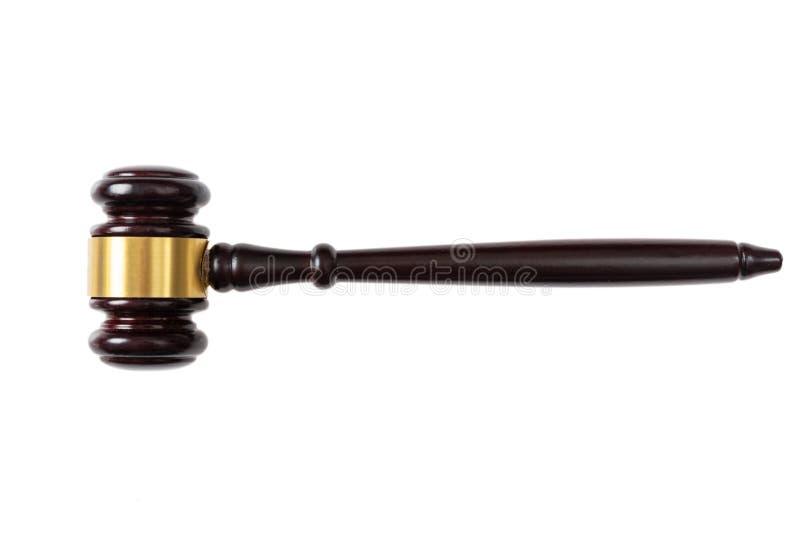 Giudichi o metta all'asta il martelletto isolato su fondo bianco, vista superiore fotografia stock