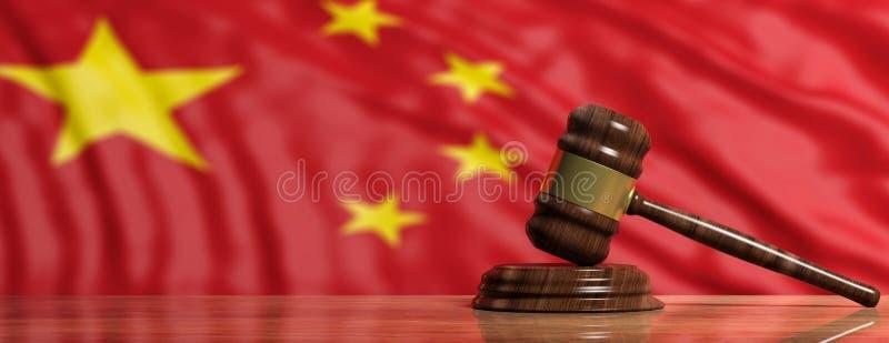 Giudichi o metta all'asta il martelletto sul fondo della bandiera della Cina illustrazione 3D illustrazione vettoriale