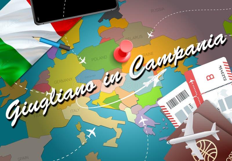 Giugliano in der Kampanien-Stadtreise und in Tourismusbestimmungsort concep vektor abbildung