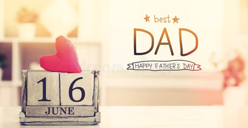 16 giugno migliore messaggio del papà con il calendario illustrazione vettoriale