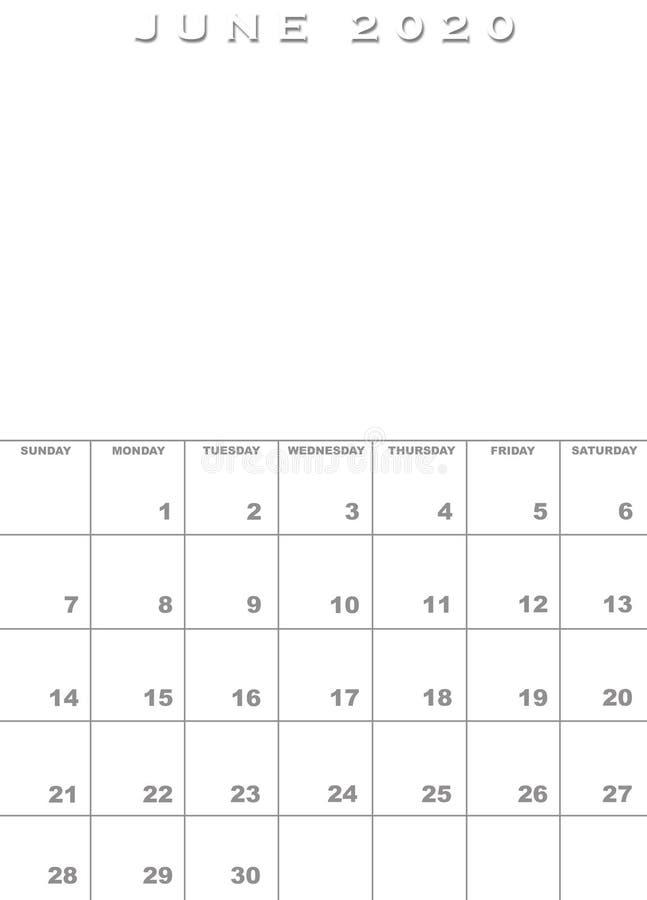Giugno 2020 modello del calendario illustrazione di stock