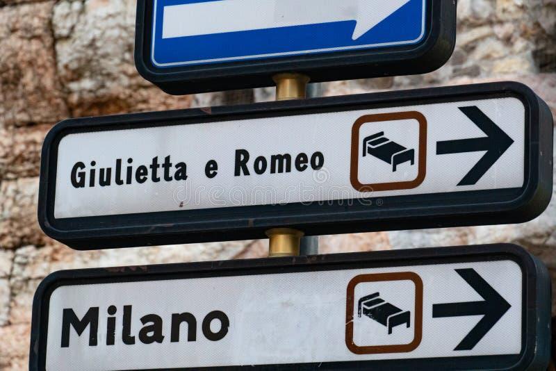 Giulietta e罗密欧旅馆签到维罗纳 库存照片
