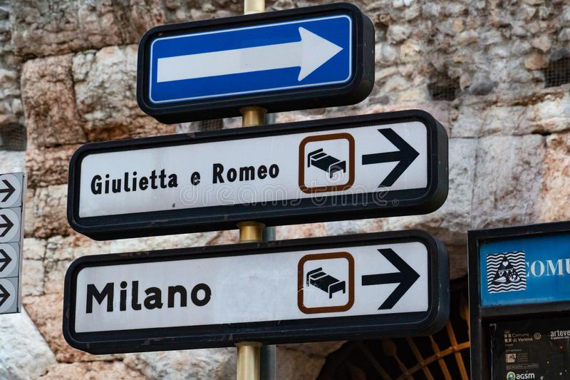 Giulietta e罗密欧旅馆签到维罗纳 免版税库存图片