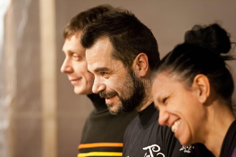 Giulio Masieri, Michela Grena e Roberto Drumo Vignandel dopo la prestazione di Audiopaint immagini stock libere da diritti