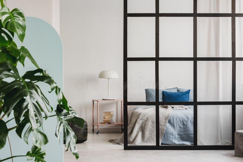 Giungla urbana nell'interno d'avanguardia dell'appartamento di piano aperto con la parete dei montanti fotografia stock