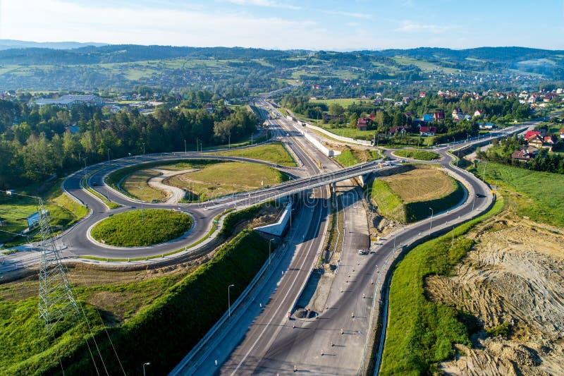 Giunzione della strada principale in costruzione in Polonia fotografie stock
