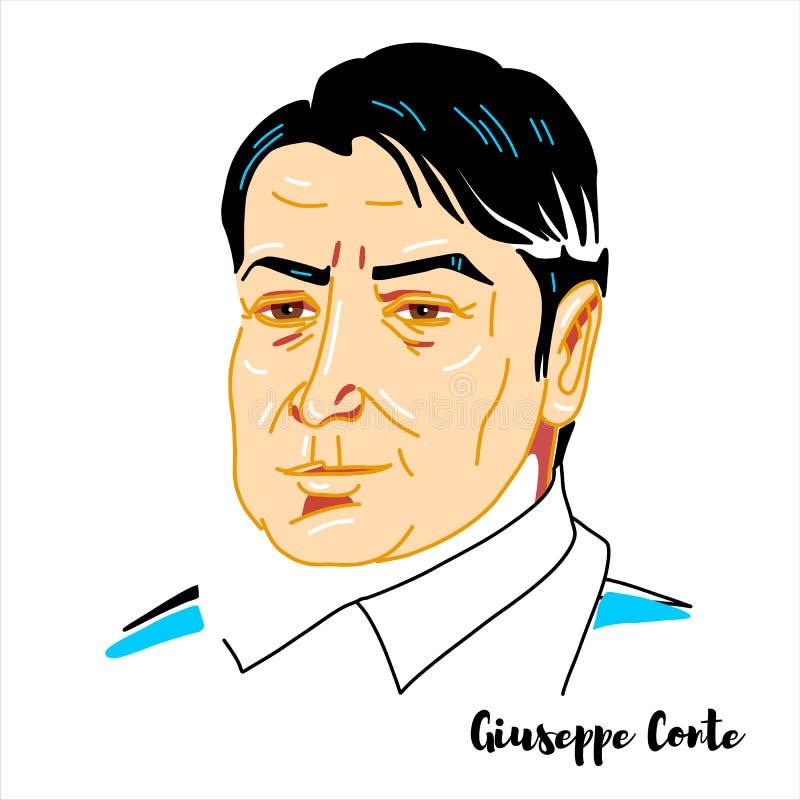 Giuseppe Conte Portrait stock illustrationer