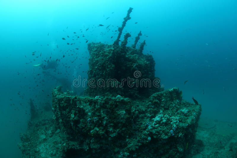 Giuseppe Dezza shipwreck. Shipwreck of the Torpedo boat Giuseppe Dezza underwater in the Mediterranean Sea royalty free stock image