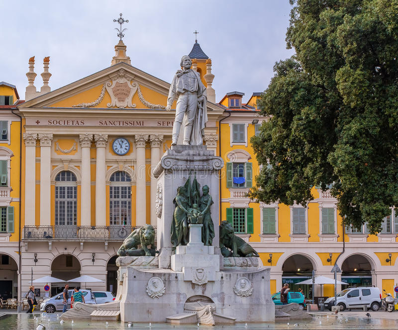 Giuseppe Garibaldi Statue in Nice Frankrijk royalty-vrije stock afbeelding