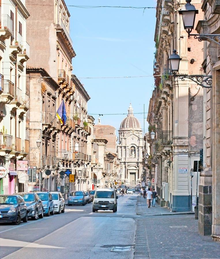 Giuseppe Garibaldi-straat in Catanië stock foto's