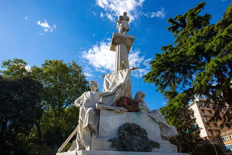 Giuseppe Mazzini-monument dichtbij Corvetto-Vierkant in Genua, Itali? stock foto's