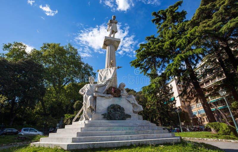 Giuseppe Mazzini monument near Corvetto Square in Genoa, Italy stock photos