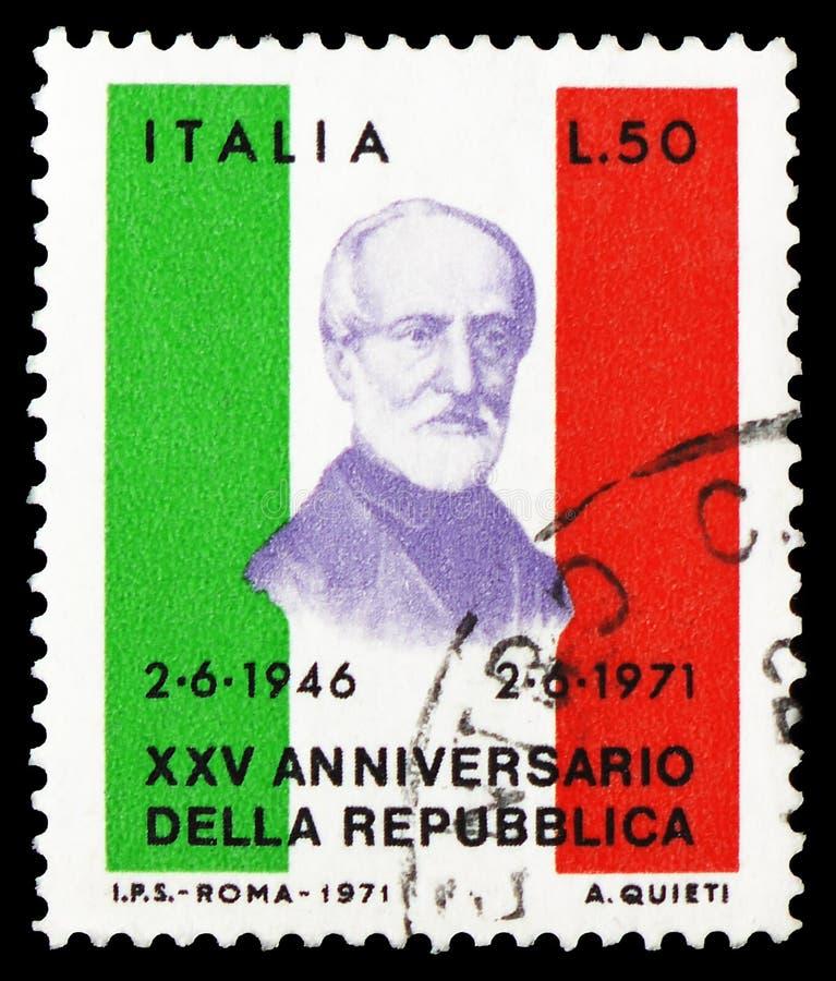 Giuseppe Mazzini, Repubblica italiana, serie, circa 1971 immagine stock libera da diritti