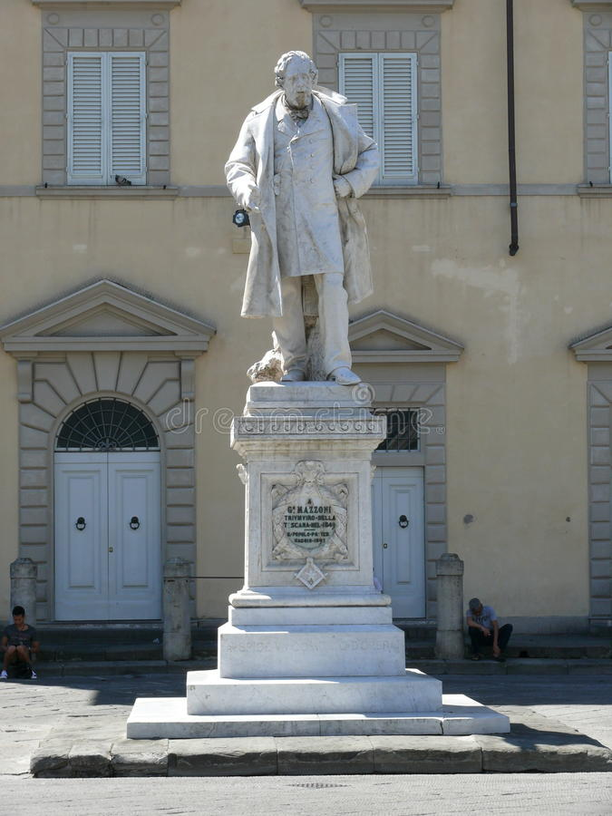 Giuseppe Mazzoni monument on Cathedral Square in Prato stock image