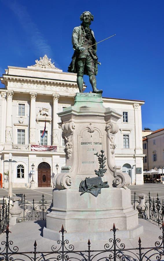 Giuseppe Tartini Monument, Piran images libres de droits