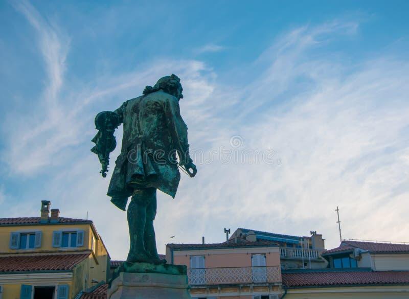 Giuseppe Tartini staty i den Tartini fyrkanten, Piran, Slovenien royaltyfri foto