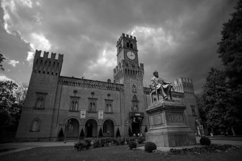 Giuseppe Verdi monument. Busseto, Parma, Italy in black and white with stormy skies stock photos