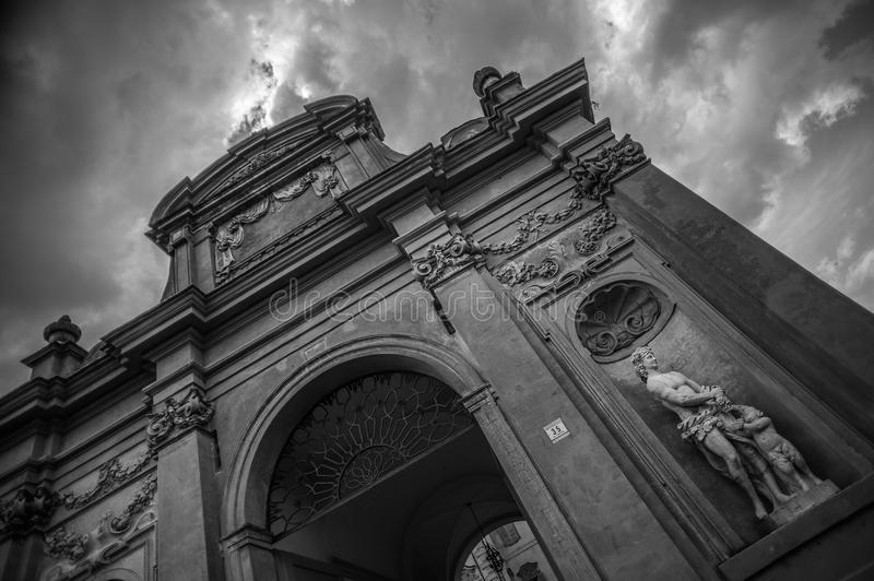 Giuseppe Verdi museum. Busseto (Parma), Italy in black and white with stormy skies stock photography