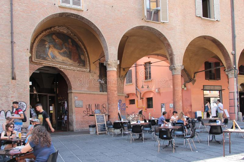 Giuseppe Verdi square in Bologna, Italy. Bologna is the capital and largest city of the Emilia-Romagna Region in Northern Italy stock photo