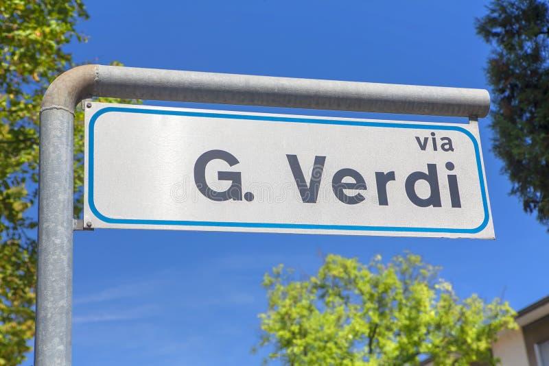 Giuseppe Verdi-straat royalty-vrije stock foto's