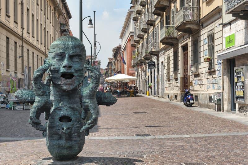 Giuseppe Verdi-straat, Turijn, Italië stock foto's