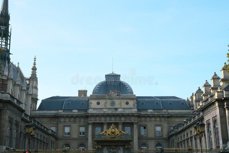 Giustizia de Parigi, Corte di Giustizia di Le Palais de a Parigi in inglese immagini stock