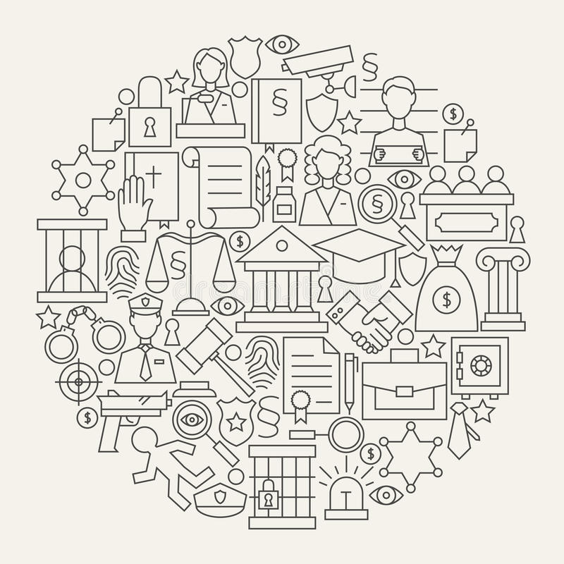 Giustizia di legge e linea forma di crimine del cerchio fissata icone illustrazione vettoriale