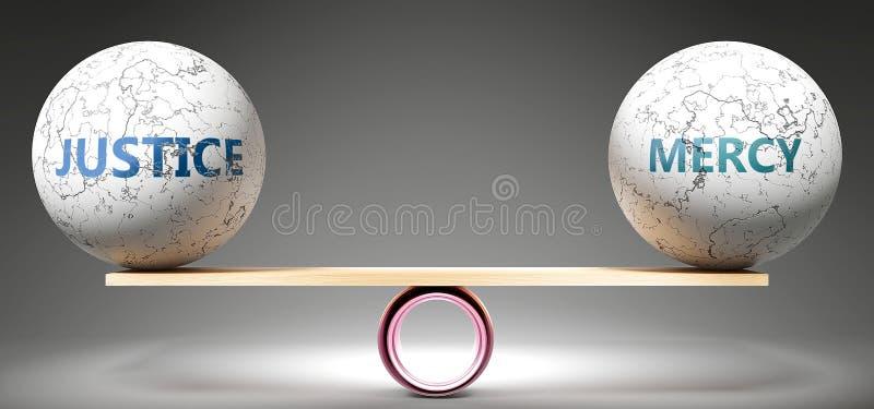 Giustizia e misericordia in equilibrio - raffigurate come palle equilibrate su scala che simboleggiano l'armonia e l'equità tra g illustrazione di stock