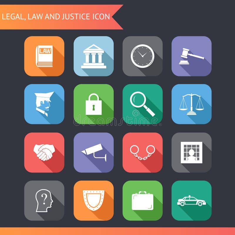 Giustizia legale Icons di legge piana ed illustrazione di vettore di simboli illustrazione vettoriale