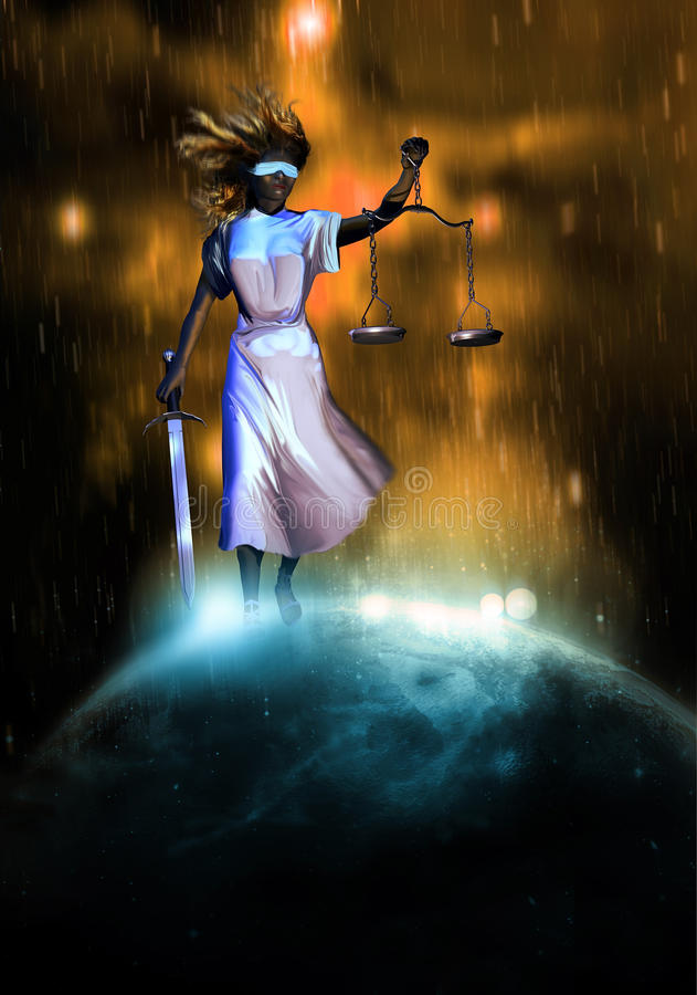 Giustizia sopra il mondo royalty illustrazione gratis