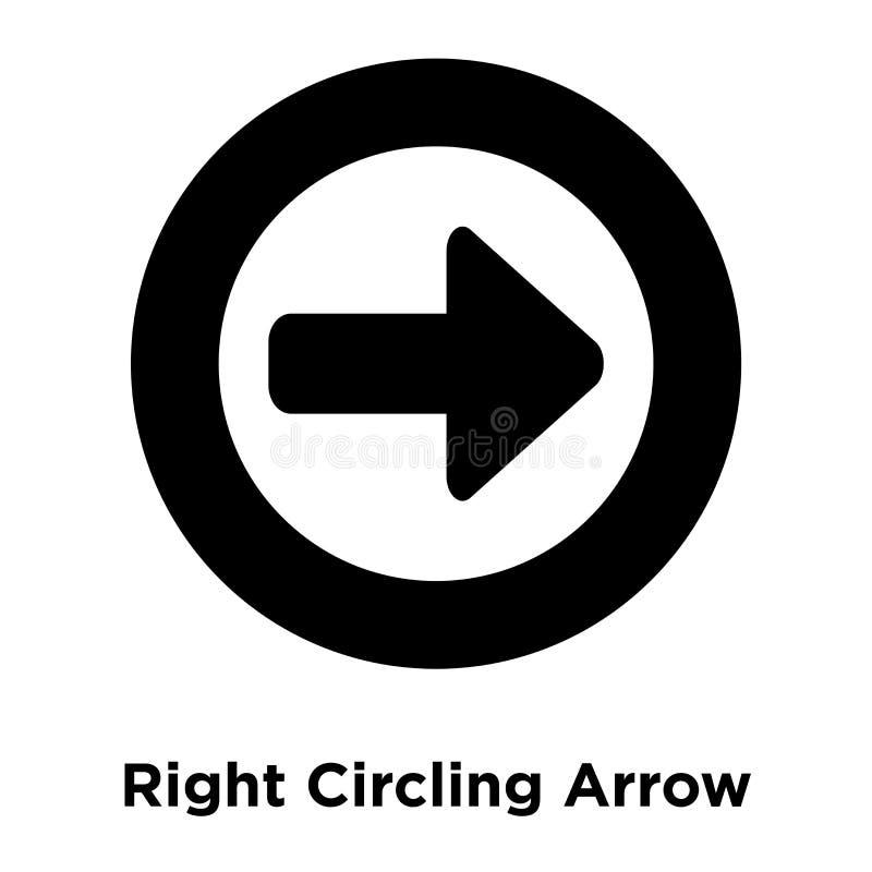 Giusto vettore di circonduzione dell'icona della freccia isolato su fondo bianco, l illustrazione di stock