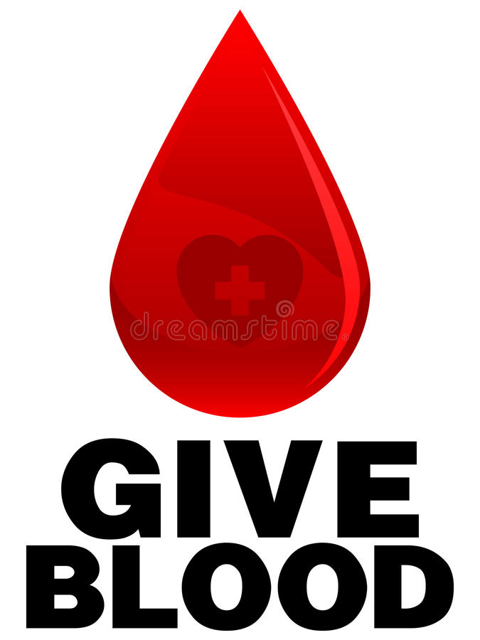 Give Blood. An illustration of a drop of blood and text requesting more blood donors