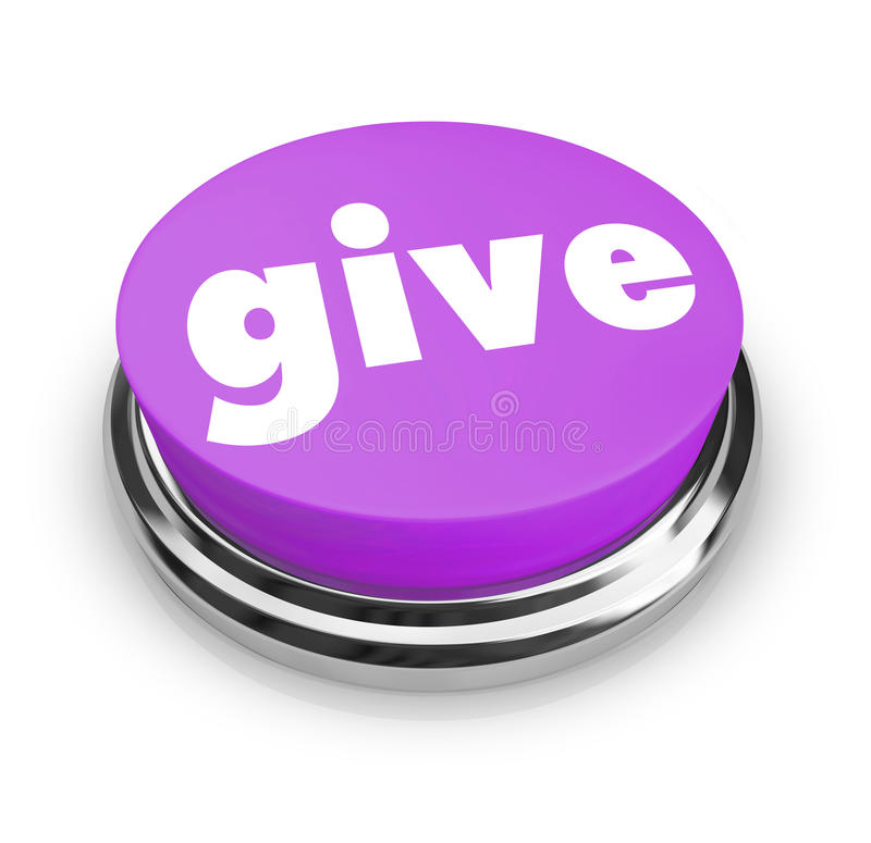 Give - Charity Button. A purple button with the word Give on it royalty free illustration
