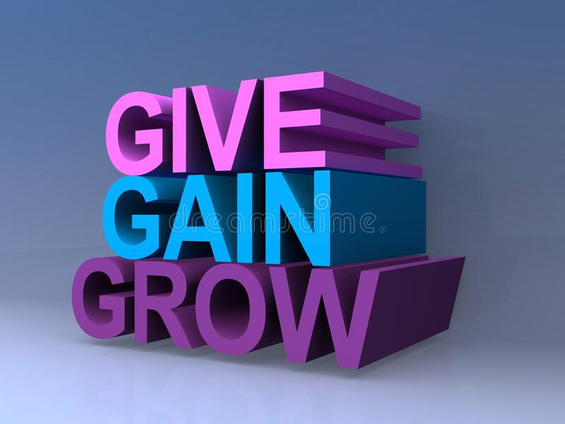 Give gain grow. On blue background stock illustration