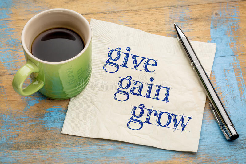 Give, gain and grow royalty free stock image