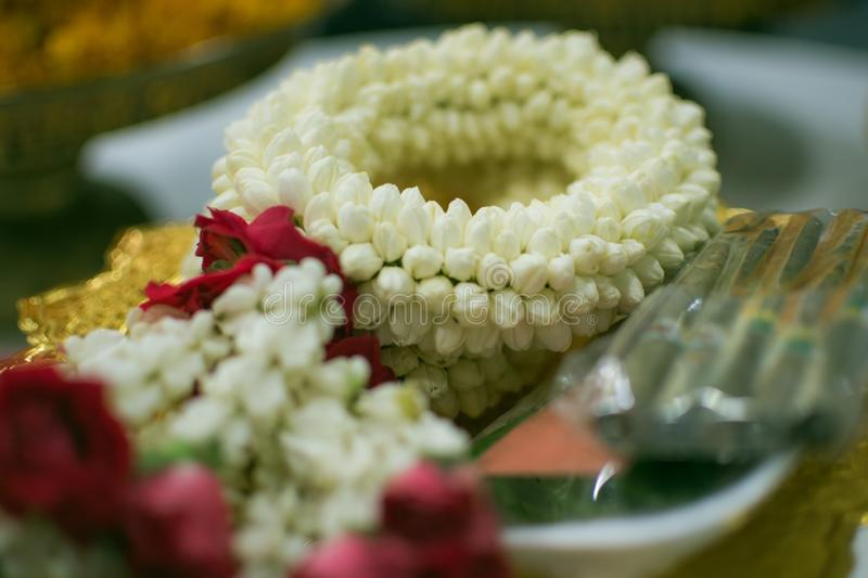 A Jasmine garland for paying respect royalty free stock photo