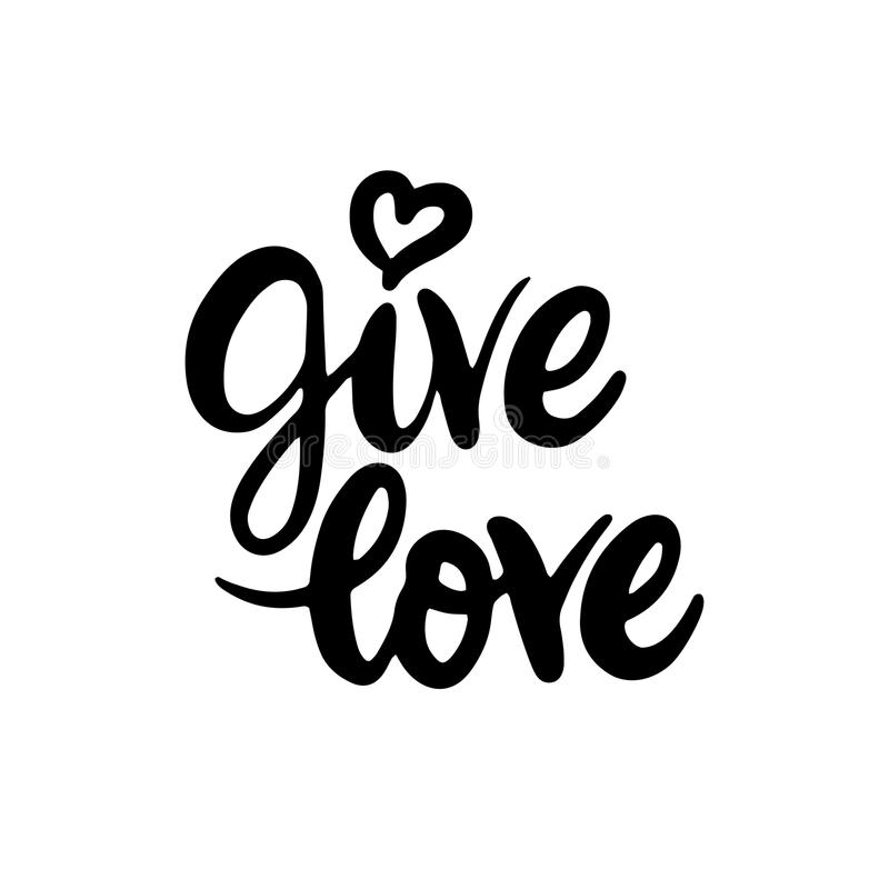 Give Love Lettering royalty free illustration