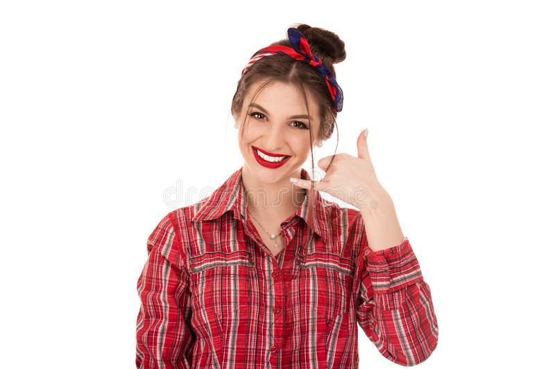 Woman excited happy student making showing call me gesture sign. Give me a call. Closeup portrait woman excited happy student making showing call me gesture sign royalty free stock photography
