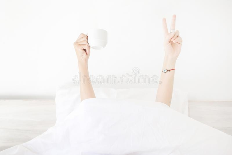 Give me a cup of coffee and I can conquer the world stock photo