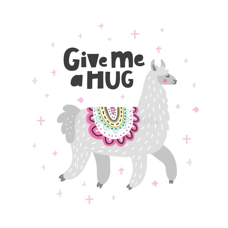 Give Me A Hug Lama royalty free illustration