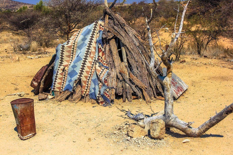 Primitive shelter. Makeshift shelter waiting for better time in Namibia desert, Africa royalty free stock photography