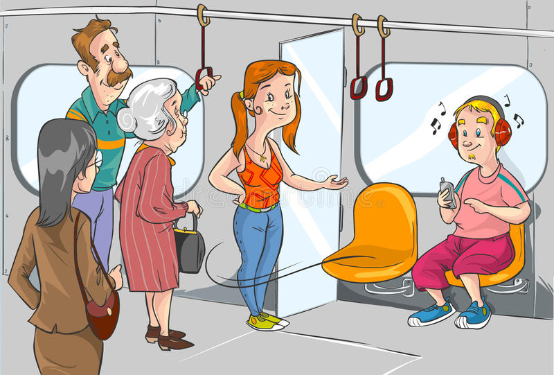 Give place to the old woman on the subway stock illustration